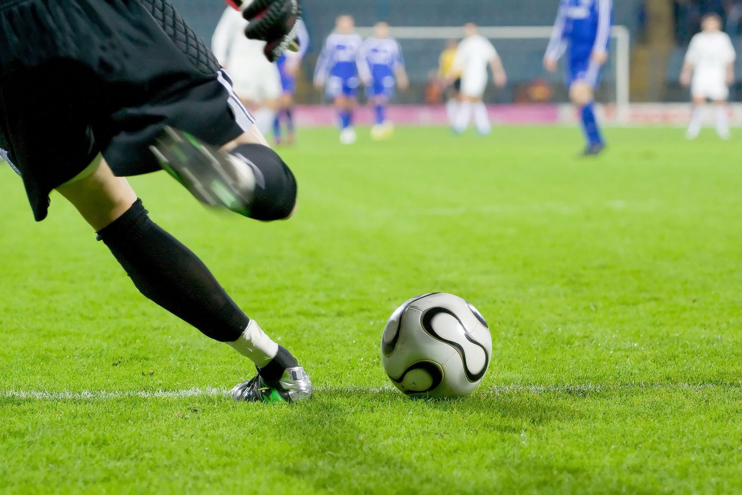 15360935 – soccer or football goalkeeper kick the ball
